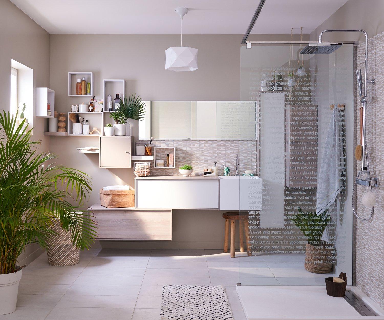 une salle de bains avec une douche l 39 italienne zen leroy merlin. Black Bedroom Furniture Sets. Home Design Ideas