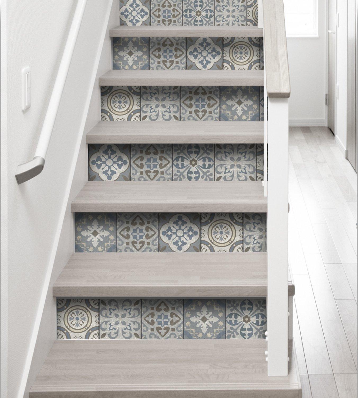 Décoration Marche Escalier Intérieur le carreau de ciment sur les contremarche | leroy merlin