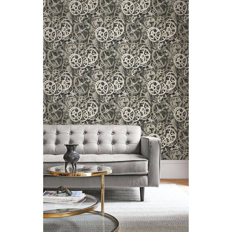 Papier peint vinyle STRUCTURE Mur Roues Dentées gris