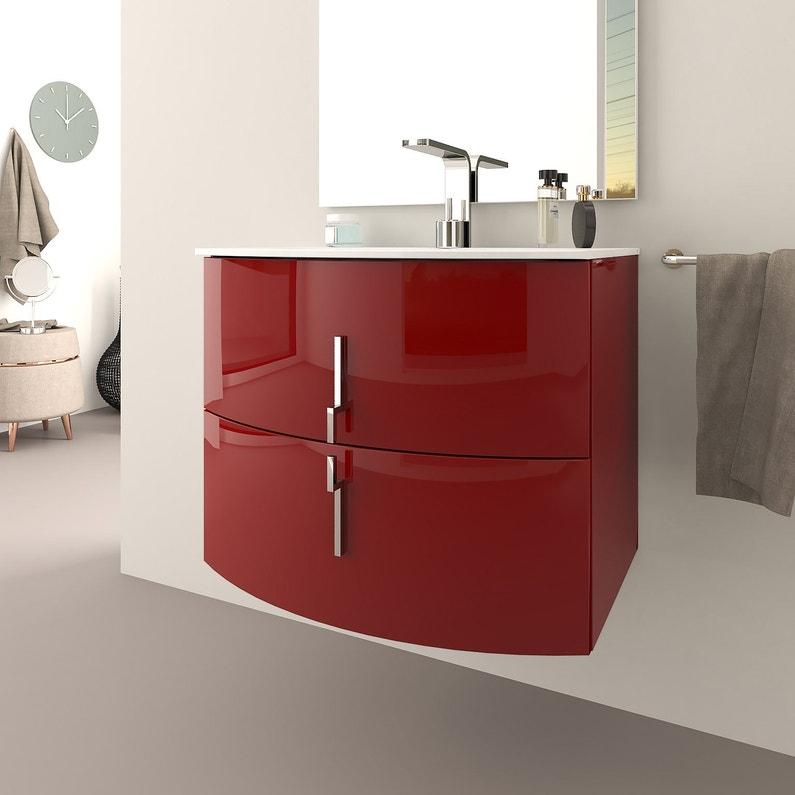 Meuble Simple Vasque L 70 X H 55 Rouge Sting Leroy Merlin