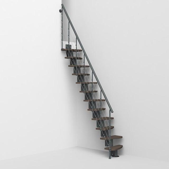 Escalier Droit Révers Acier Gris Anthr Zen 2 Tube 12 Mar Orme Foncé L62 Cm