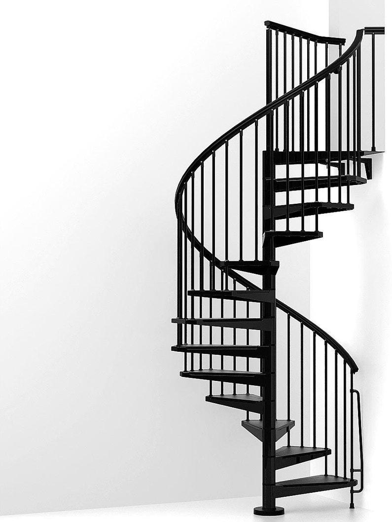 Escalier Modulaire Pas Cher escalier colimaçon rond réversible acier noir steel 13 marches acier, ∅140  cm