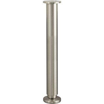 Pied de lit / sommier cylindrique réglable aluminium chromé gris, de 35 à 37 cm