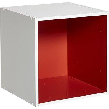 Etagère 1 case MULTIKAZ, rouge blanc H.35.2 x l.35.2 x P.31.7 cm