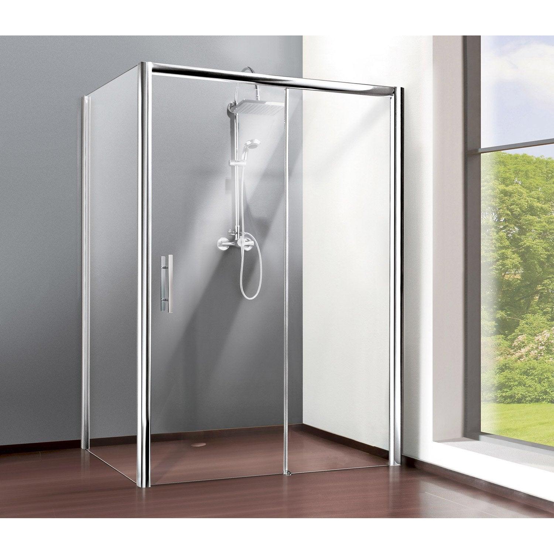 Porte de douche coulissante 100 cm transparent adena leroy merlin - Pose porte de douche ...