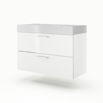 Meuble vasque l.105 x H.64 x P.48 cm, blanc, SENSEA Neo line