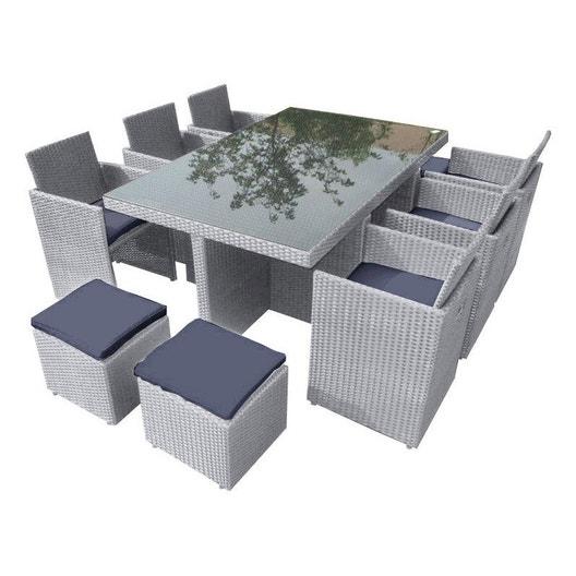 Salon de jardin Encastrable résine tressée gris, 10 personnes ...