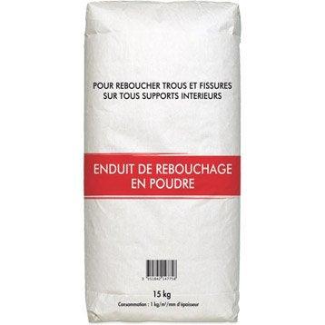 Enduit de rebouchage poudre blanc, 15 kg
