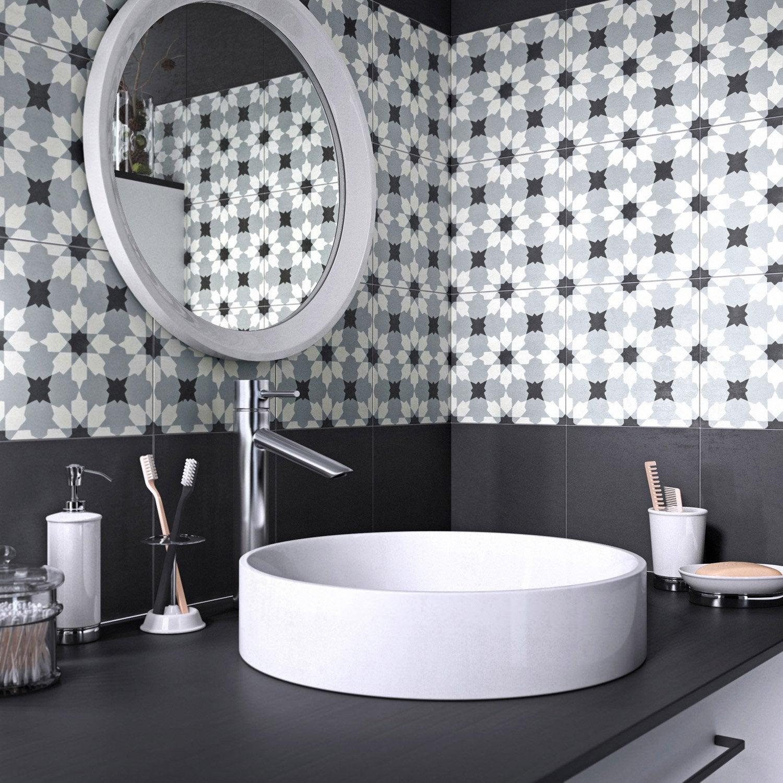 Carreau de ciment mur uni gris, noir, blanc mat l.20 x L.20 cm, Belle époque luc