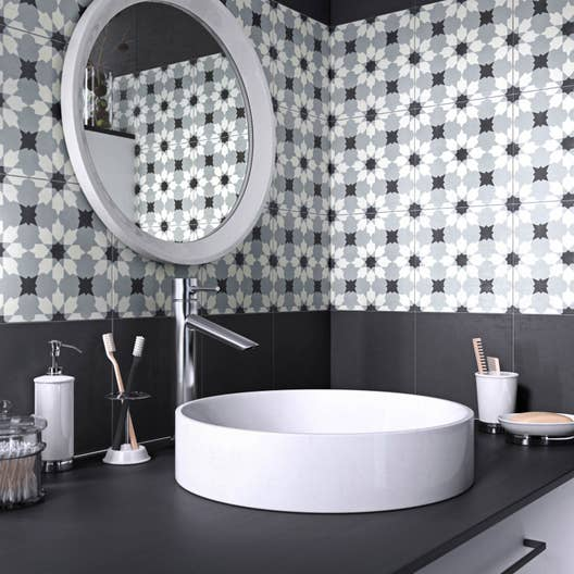 Carreau de ciment Belle époque décor lucie gris, noir et blanc, l.20 ...