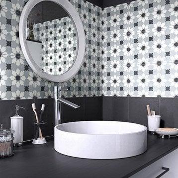 Carreau de ciment Belle époque décor lucie gris, noir et blanc, l.20 x L.20 cm