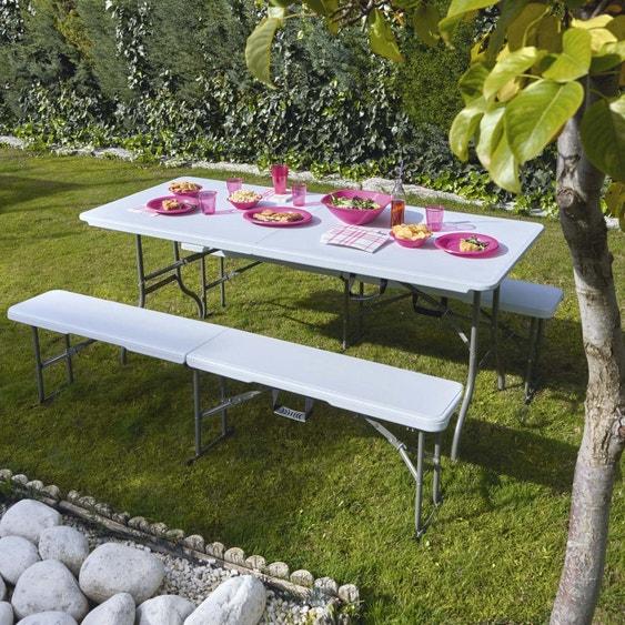 table de jardin cantina rectangulaire blanc 6 8 personnes leroy merlin. Black Bedroom Furniture Sets. Home Design Ideas