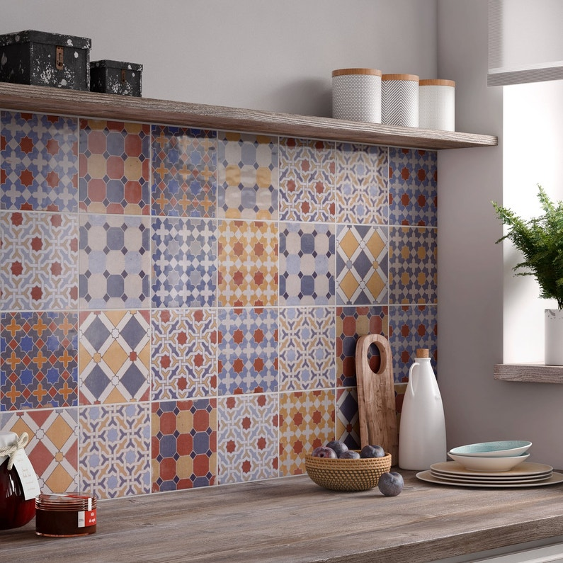Embellir votre cuisine avec un carrelage multicolore au for Carrelage credence cuisine leroy merlin