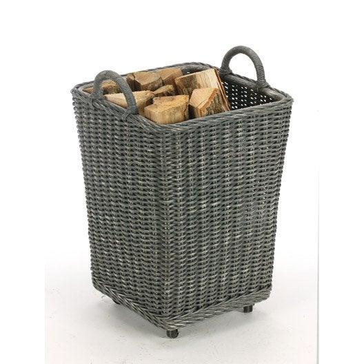 Panier b ches rotin gris fonc atelier dix neuf gipsy leroy merlin - Granules de bois leroy merlin ...