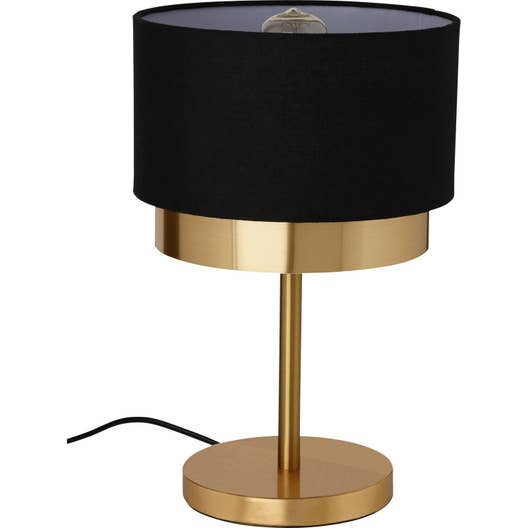 lampe e27 dana mathias synth tique noir et or 23 w w leroy merlin. Black Bedroom Furniture Sets. Home Design Ideas