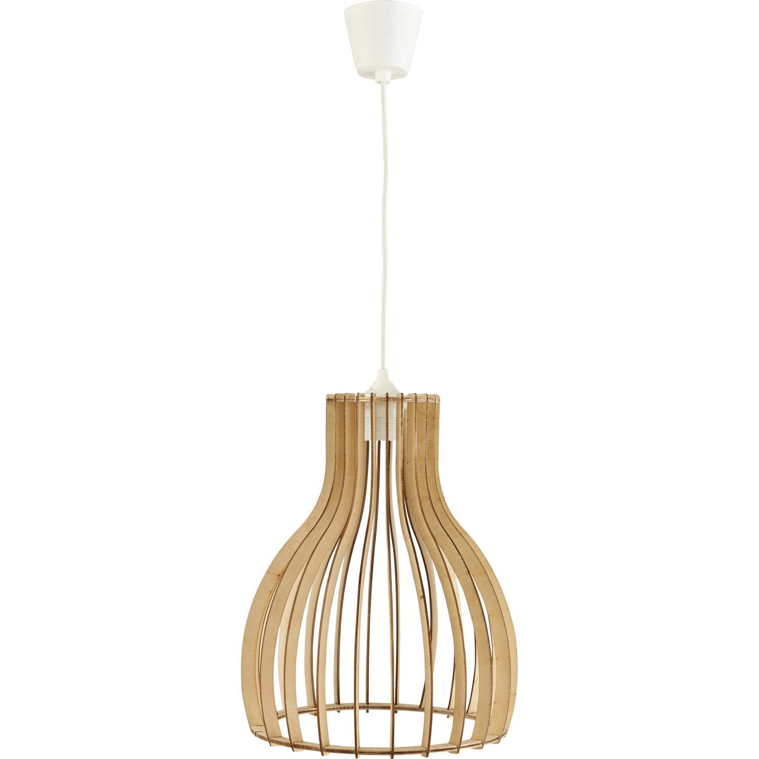 Suspension, E27 nature Helsinki bois bois naturel 1 x 60 W LUSSIOL