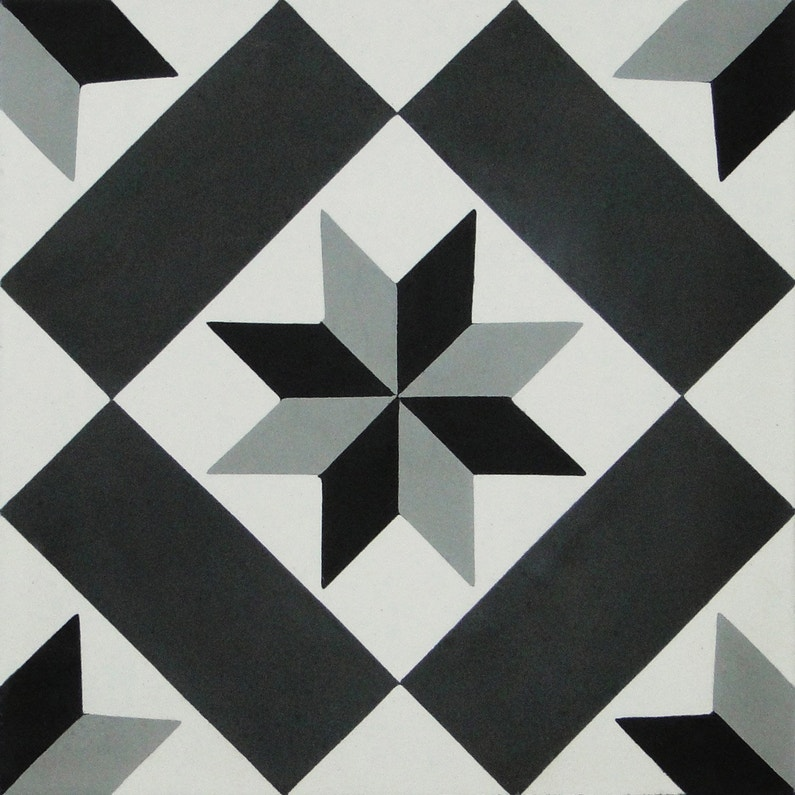 Carreau de ciment mur gris, noir, blanc mat l.20 x L.20 cm, Belle ...