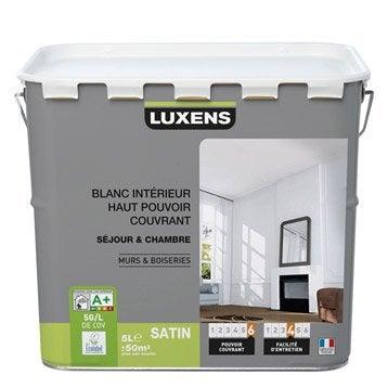 Peinture blanche mur et boiserie Haut pouvoir couvrant LUXENS, satin 5 l