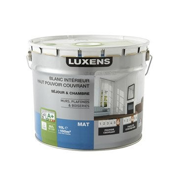 Peinture blanche mur, plafond et boiserie Haut pouvoir couvrant LUXENS, mat 10 l