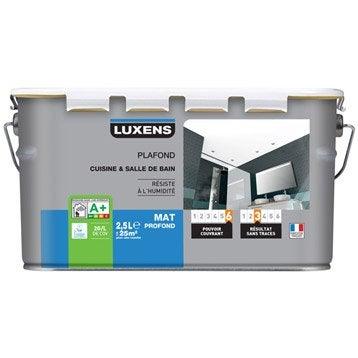 Peinture blanche plafond cuisine et bains LUXENS, mat 2.5 l