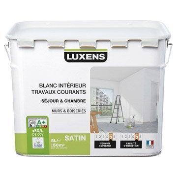 Peinture blanche mur et boiserie Travaux courants LUXENS, satin 5 l