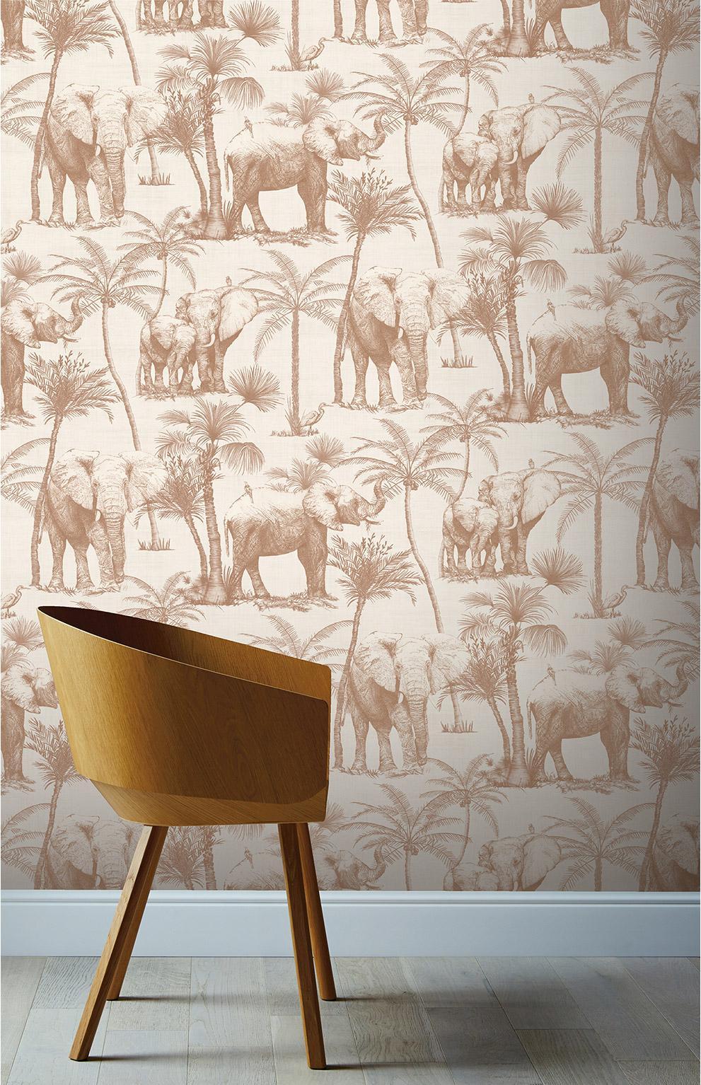 Papier peint intissé VOYAGE éléphant grove marron café