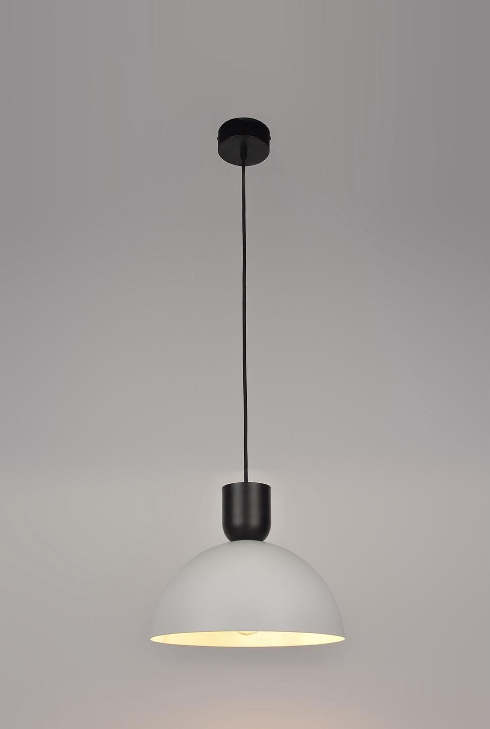 Suspension, moderne métal blanc/noir COREP Portland 1 lumière(s) D.30 cm