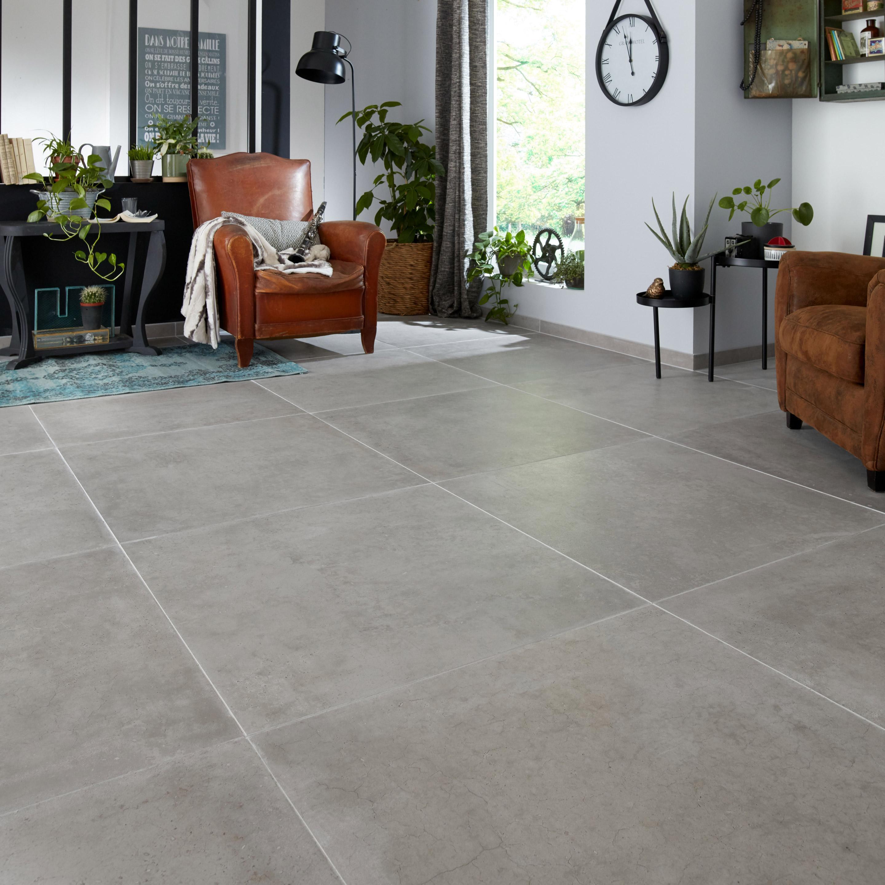 Carrelage sol et mur intenso effet béton gris clair Spirit l.80 x L.80 cm ARIANA