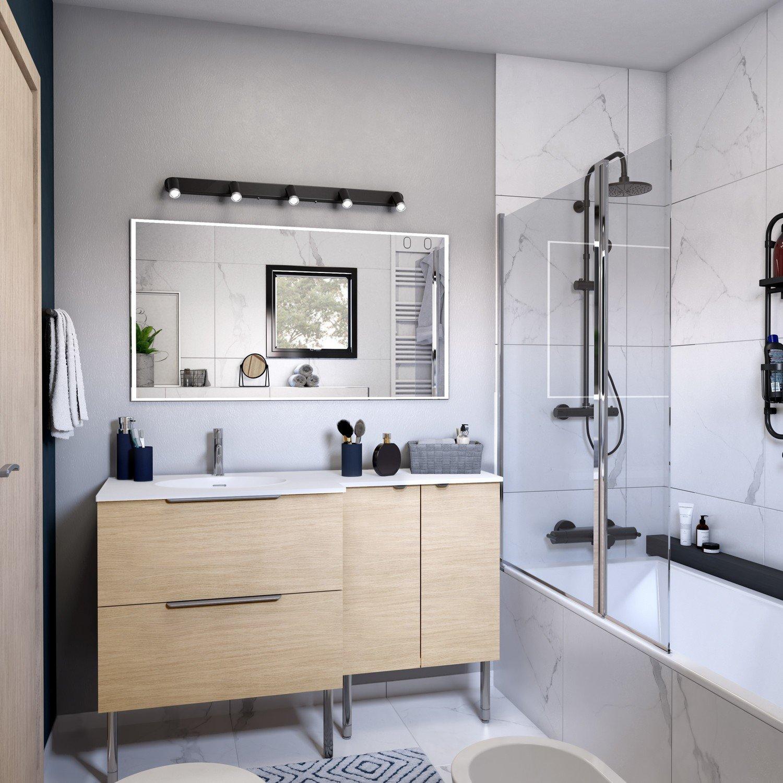Salle de bains nature avec effet marbre dans la douche  Leroy Merlin