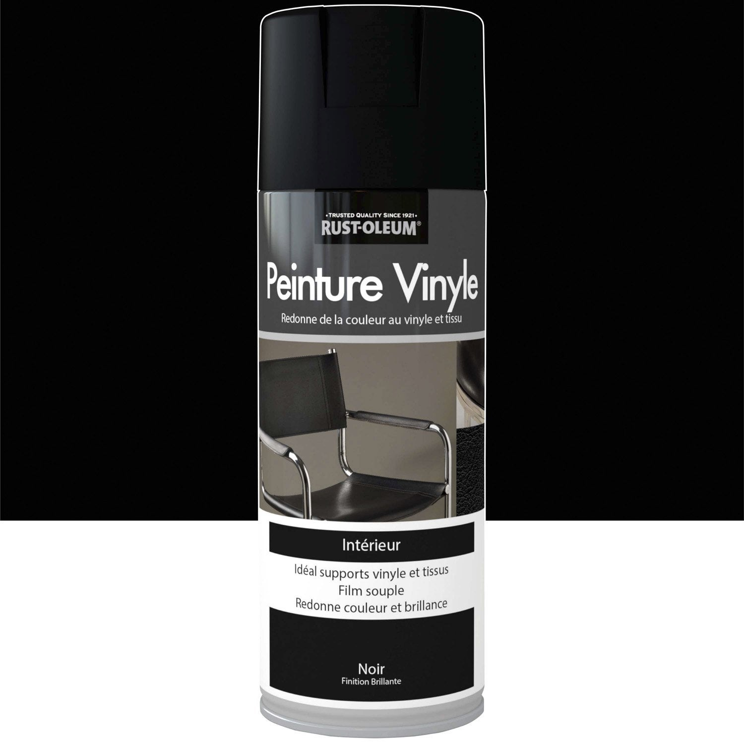 peinture a rosol vinyle brillant rustoleum noir 0 4 l leroy merlin. Black Bedroom Furniture Sets. Home Design Ideas
