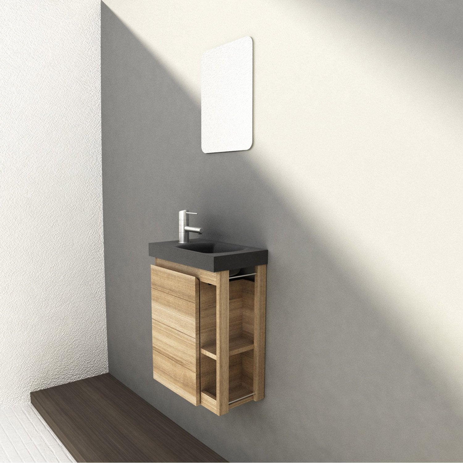 Meuble lave mains avec miroir imitation ch ne naturel l for Table de toilette acrylique ikea