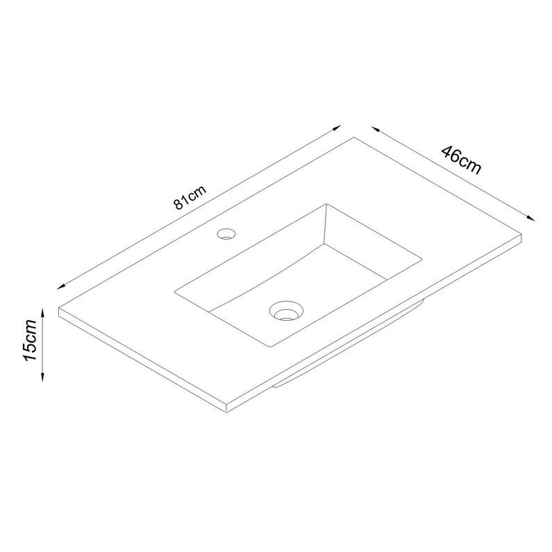 Plan Vasque Simple Stormashley Céramique 81 Cm