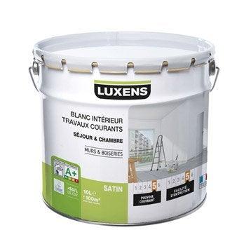 Peinture blanche mur et boiserie Travaux courants LUXENS, satin 10 l