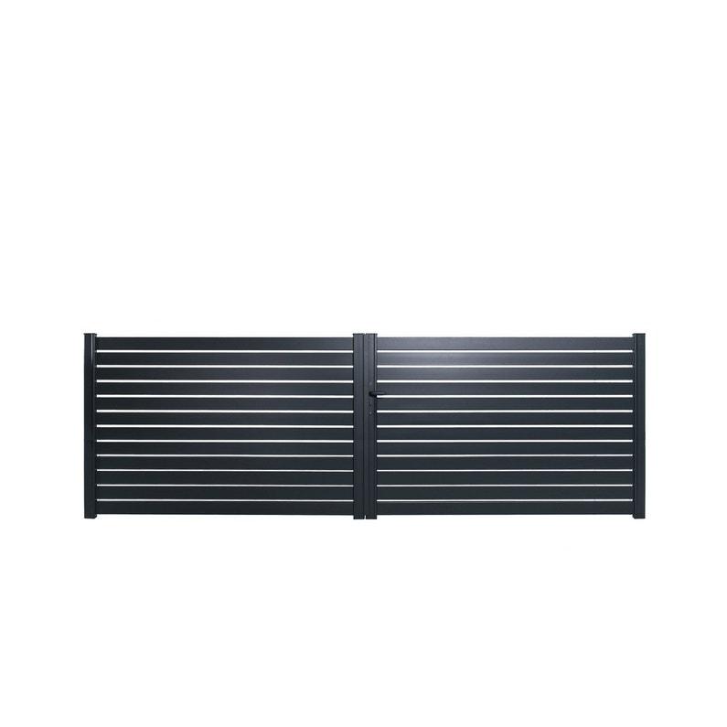 Portail Battant Aluminium Trez Gris Zingué Naterial L400x H153 Cm