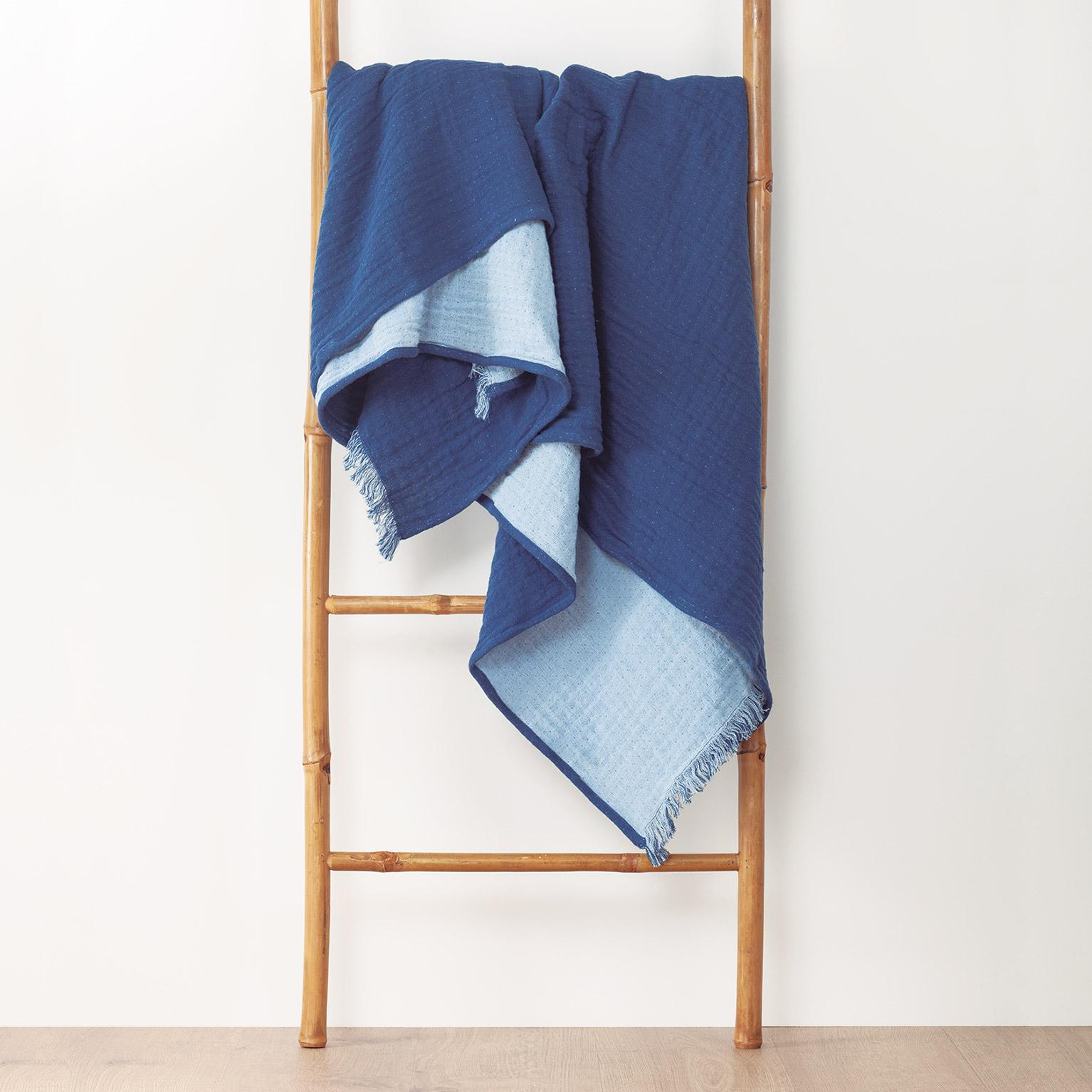 Plaid Bicolore fringes, bleu foncé l.180 x L.220 cm