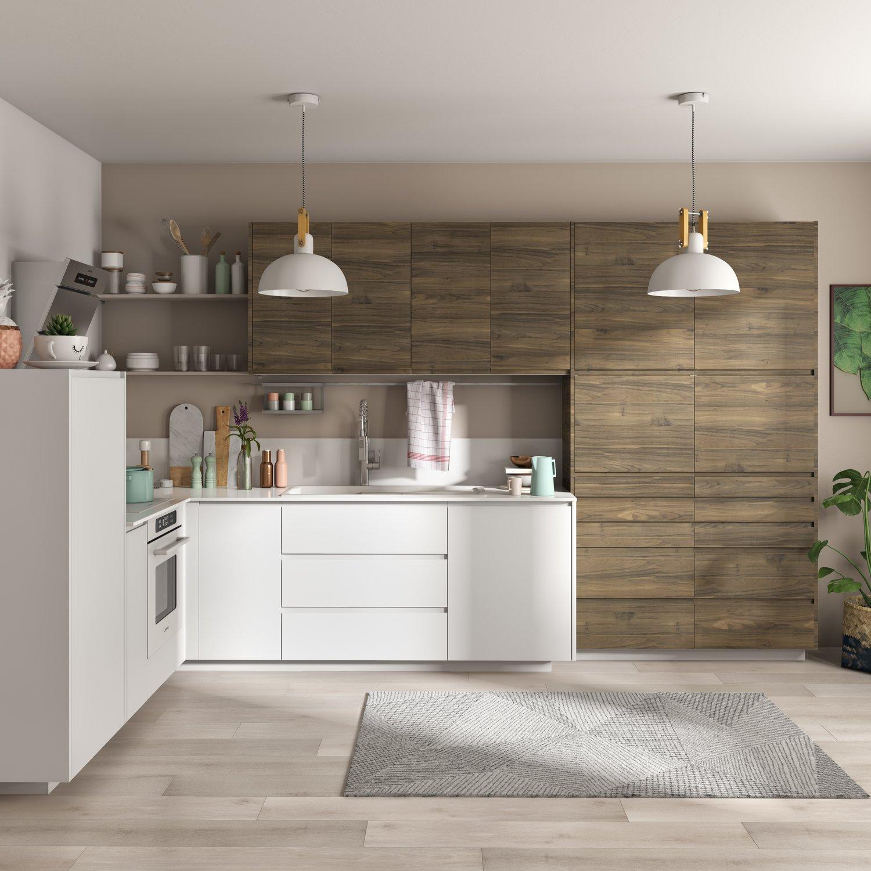 Cuisine Noir Et Blanc Mat cuisine en l, mix de couleurs pour les meubles effet bois et