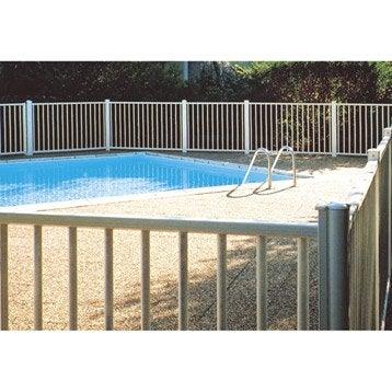 Barrière pour piscine aluminium Issambres blanc 9010, H.120 x l.200 cm