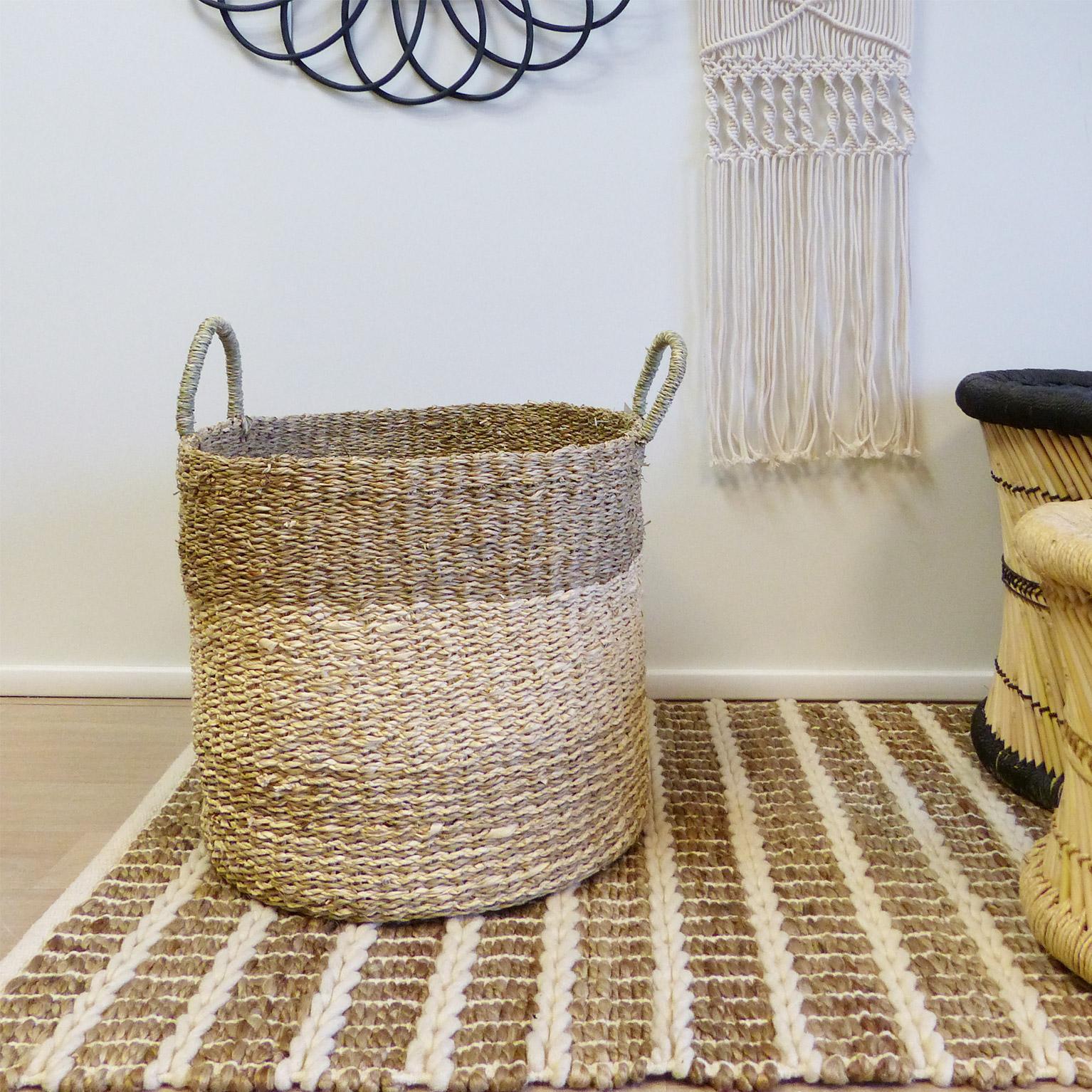 Panière décorative m fibre naturelle Cayman beige H.44 x l.40 x P.40 cm