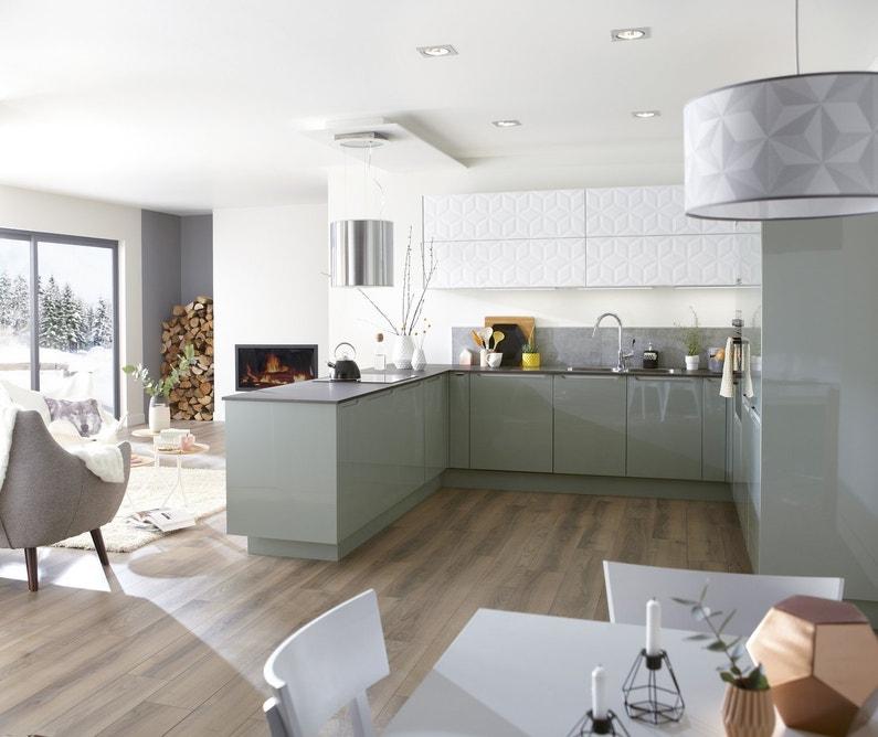 Une cuisine vert pastel et blanche qui allie design et - Cuisine blanche et taupe ...