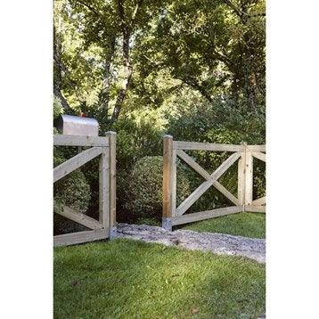 Barrière bois Cadre marron, H.90 x l.180 cm
