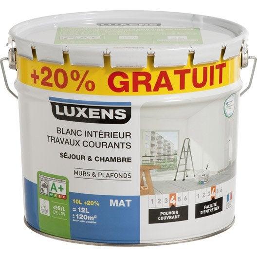 Peinture blanche mur et plafond Travaux courants LUXENS, mat 12 l