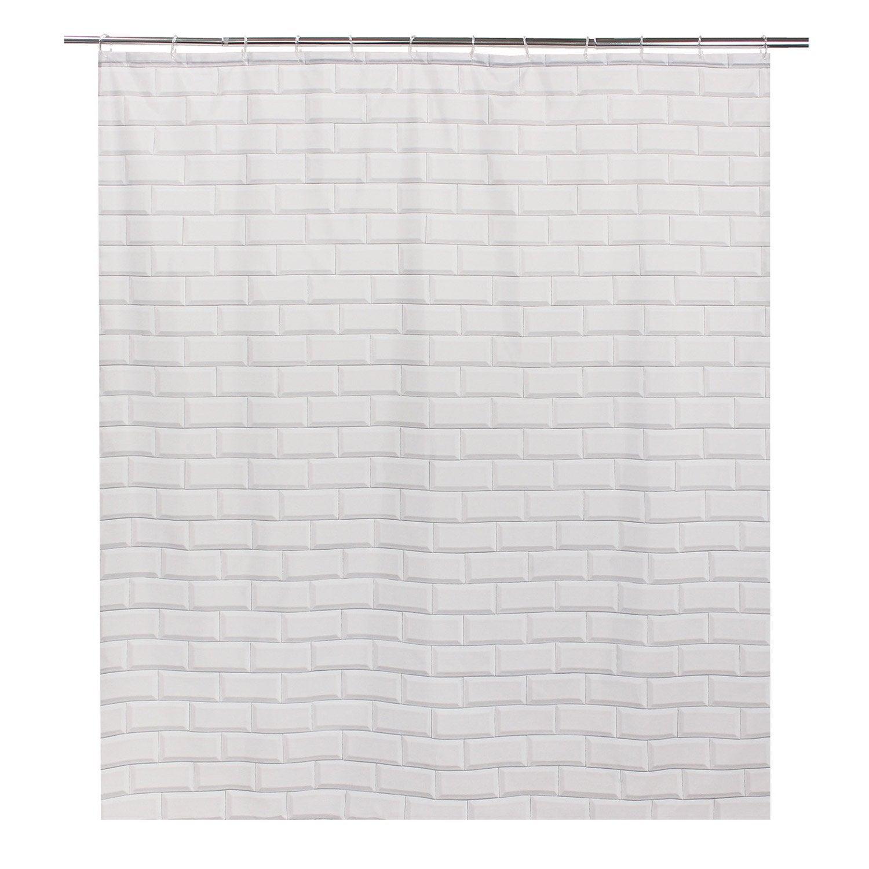 Rideau de douche en textile blanc l.180 x H.200 cm, Metro SENSEA