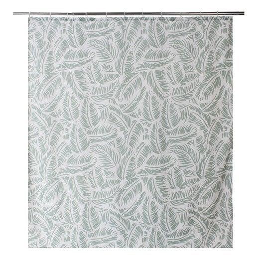 Rideau de douche en textile vert x cm palm - Rideau pour douche italienne ...