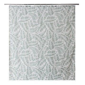 Rideau de douche en textile vert l.180 x H.200 cm, Palm SENSEA