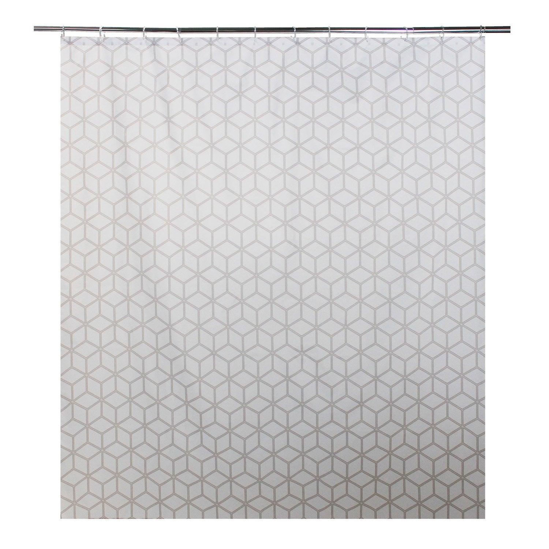 Rideau de douche en textile gris zingué n°1 l.180 x H.200 cm, Boomer SENSEA