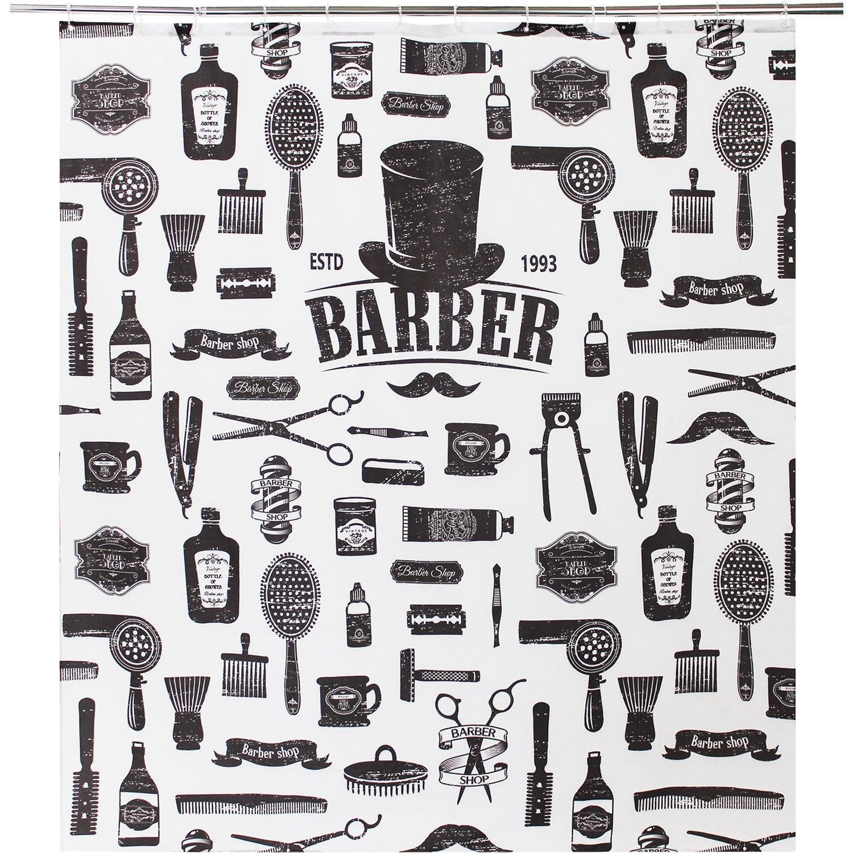 Rideau de douche en textile noir l.180 x H.200 cm, Barnabe SENSEA