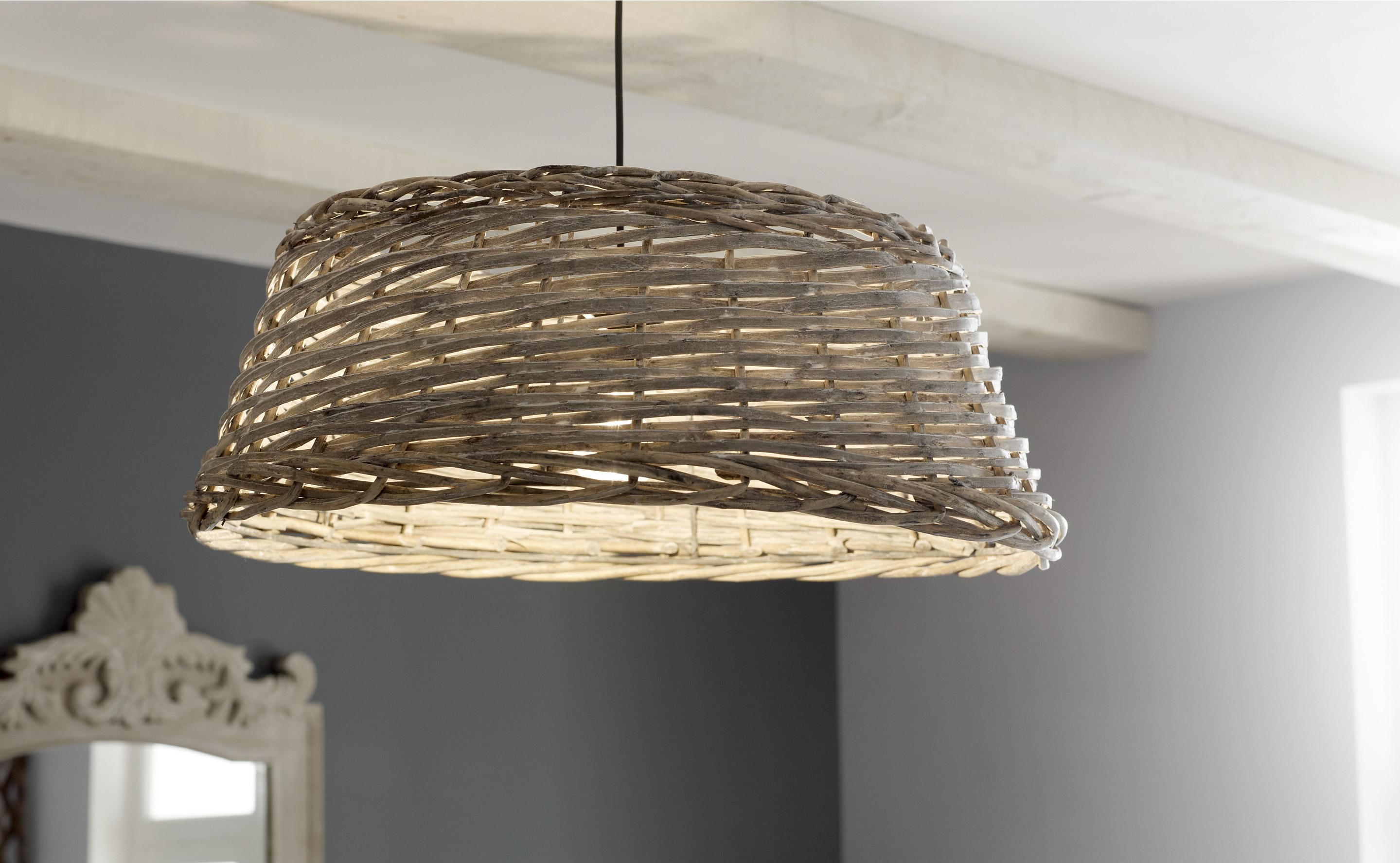 Suspension, e27 campagne Gordes saule naturel 1 x 52 W MATHIAS