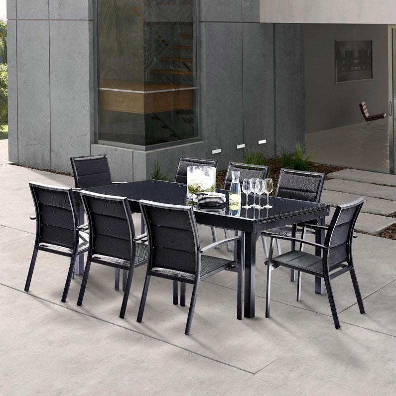 Salon de jardin Wilsa modulo t8/12 aluminium noir, 8 personnes