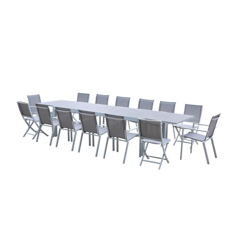 Salon de jardin Wilsa tulum t10/14 aluminium blanc, 14 personnes