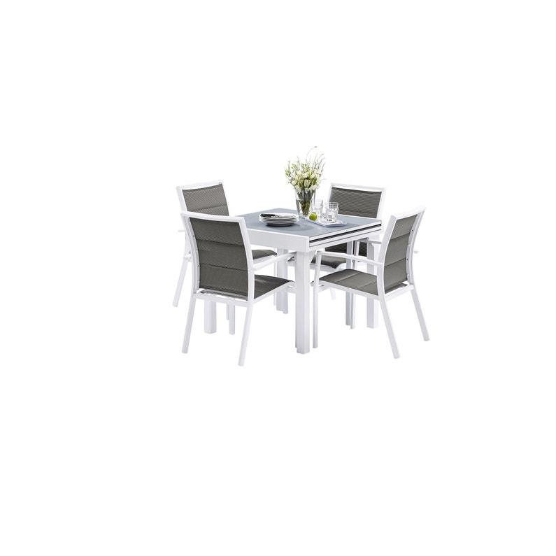 Salon de jardin Wilsa modulo t4/8 aluminium blanc, 4 personnes ...